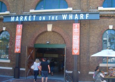 The entrance into the shiny new market. Table Mountain is just on the right