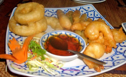 Prawn and vegetable tempura served piping hot