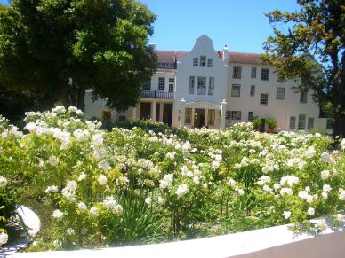 The stunning rose gardens welcome you