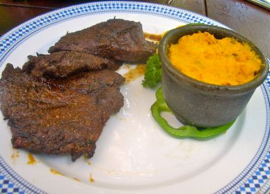 The ostrich was perfectly cooked – tender and flavoursome