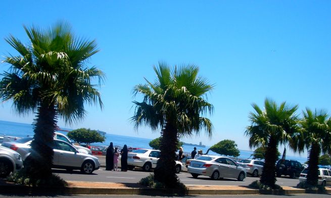 The view across the road to the sea, yes the sky is really that blue