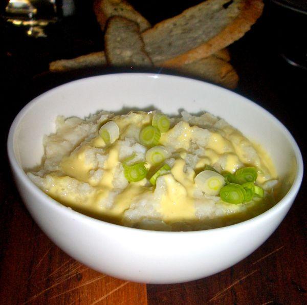 White fish brandade with a mustard cream drizzle and crostini