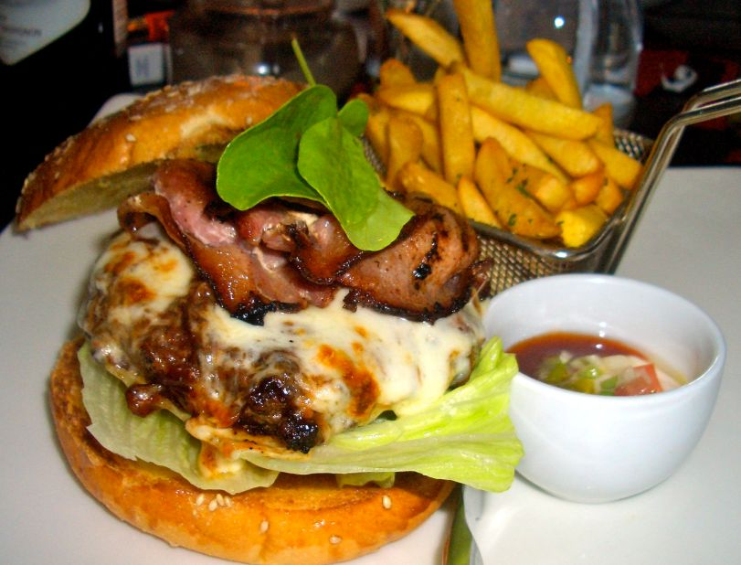 An amazing cheese and bacon burger at Firemans Arms