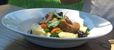 Braised pork with apples and prunes, olive oil pomme puree and carrots