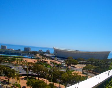 The view across Greenpoint towards the sea and Cape Town stadium