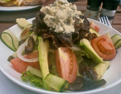 Seasonal greens, tomato, cucumber, onion, avo and marinated biltong topped with green figs and blue cheese