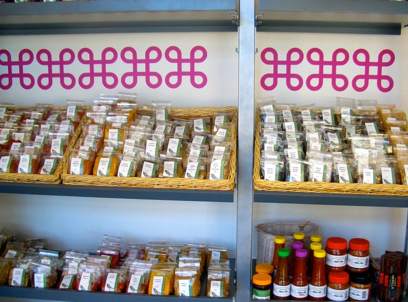 The shelves are packed with tempting packets of spices