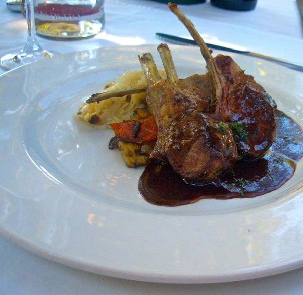 Roasted Karoo lamb rack with roasted vegetables and dauphinoise potatoes