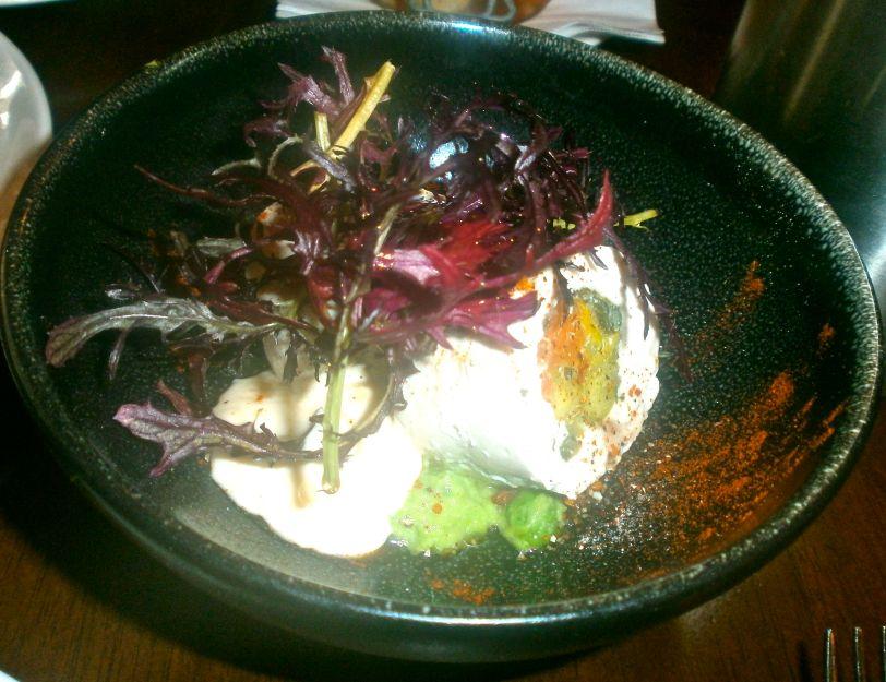 Chicken matambre, quail eggs and green peas