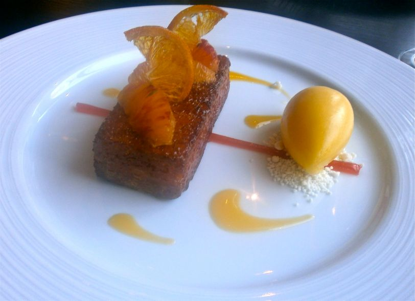 Orange Buttered Loaf with mandarin and thyme sorbet
