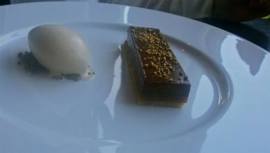 Millionaire Tart with crystallised chocolate and vanilla ice cream