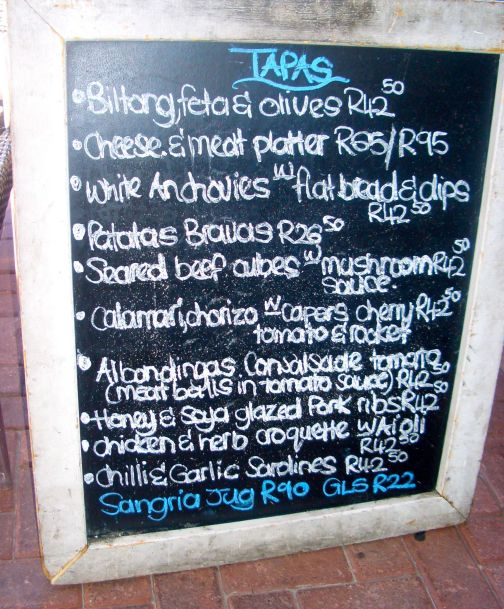The delightful tapas menu