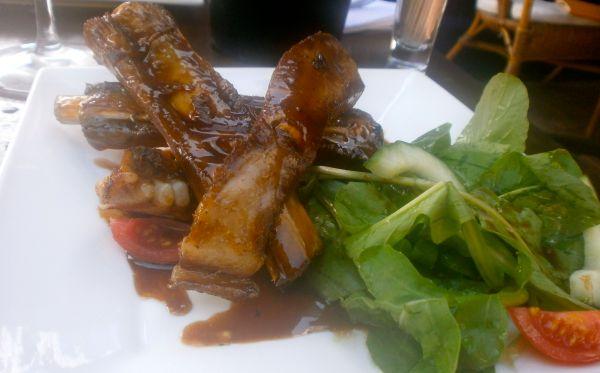 Honey and soy glazed pork ribs