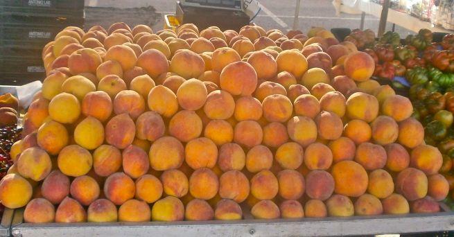 Plump peaches piled up  high