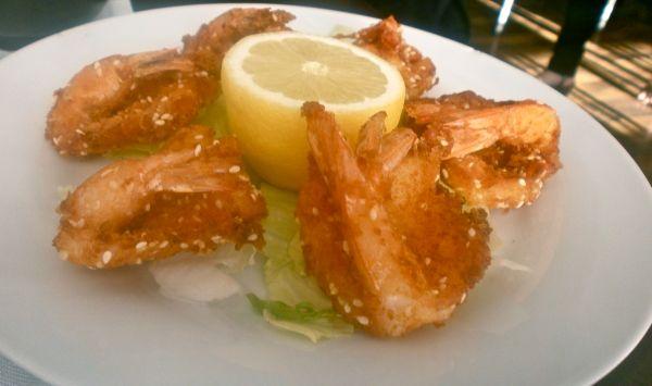 Fantastically sweet, lightly battered prawns