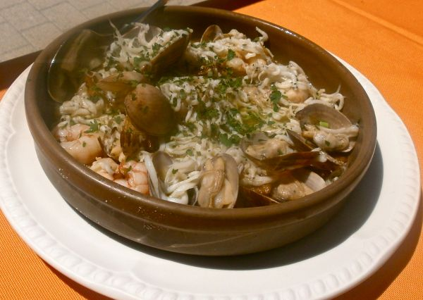 Trimarino - baby whitebait, clams and prawns with lots of garlic