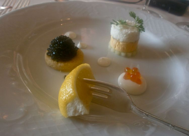 Caviar and condiments, a delicately beautiful dish