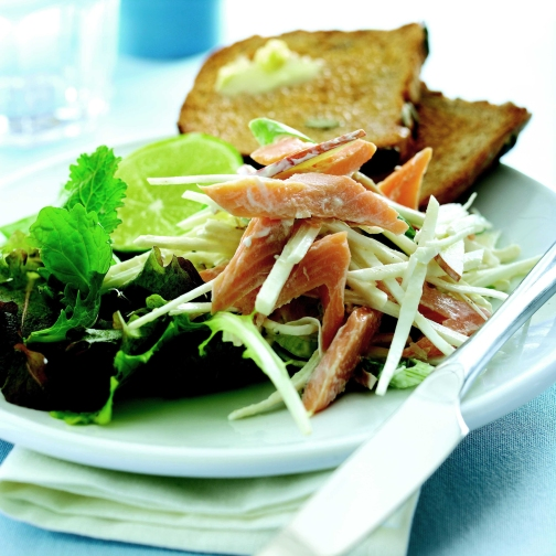 Trout, Celeriac and Apple Salad with Cumin Cream