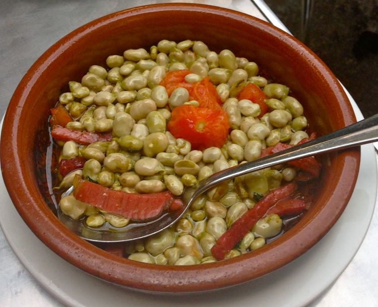 Baby broad beans and Pata Negra...total Spanishness