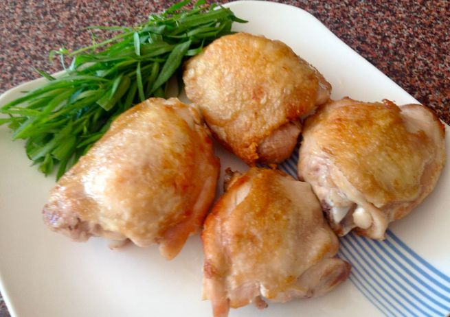 Juicy browned chicken thighs