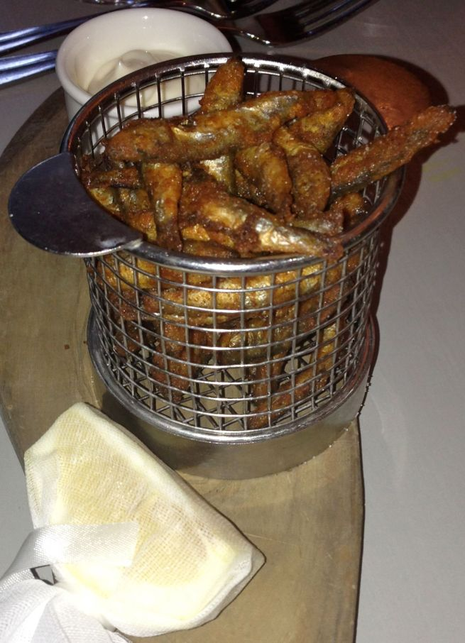 Crispy, fishy whitebait with garlic mayo, the perfect finger food to eat at the bar
