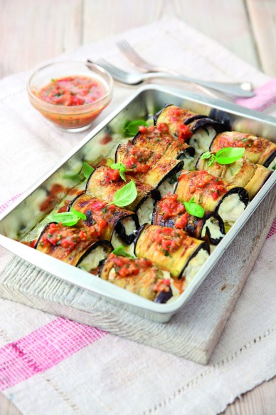 Aubergine cannelloni stuffed with silken ricotta