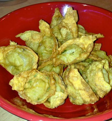 The cooked wontons – totally impressed at how professional they look. Did we really make these