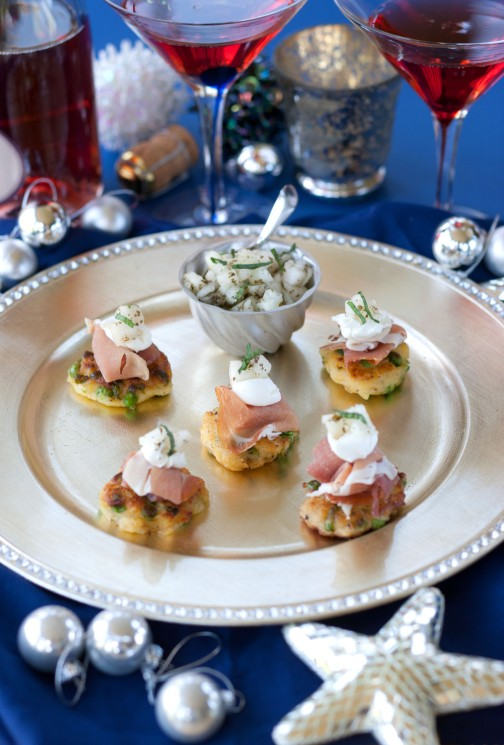 Pea blinis with Parma ham