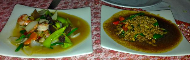 Our saucy shrimp and minced beef dishes