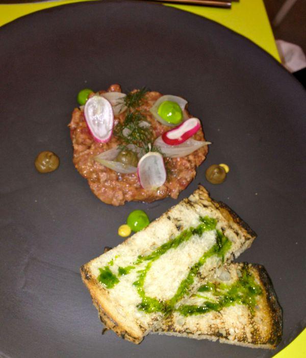 Lamb tartare with aubergine and corn bread