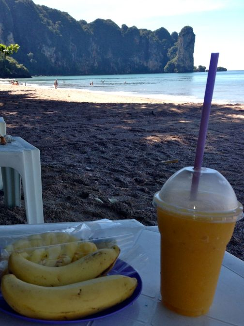 Beautifully sweet mango shake on our favourite part of the beach