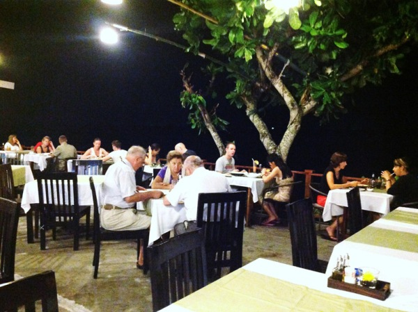 The terrace overlooking the beach